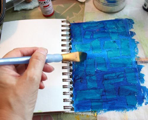 Taping up journal pages (Use painter's tape and you can peel it up after the paint dries to open up space to doodle & write.):