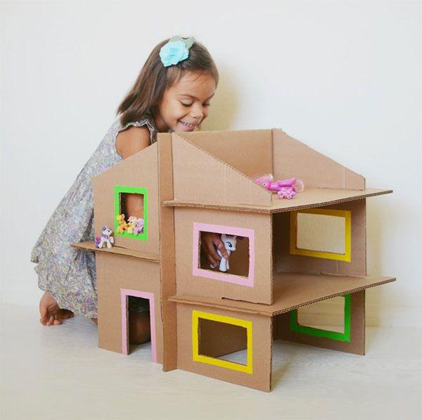 La casa delle bambole di cartone lavoretti pinterest for Case da costruire