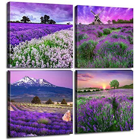 Best Pastoral Home Decor Canvas Wall Art Purple Lavender 400 x 300
