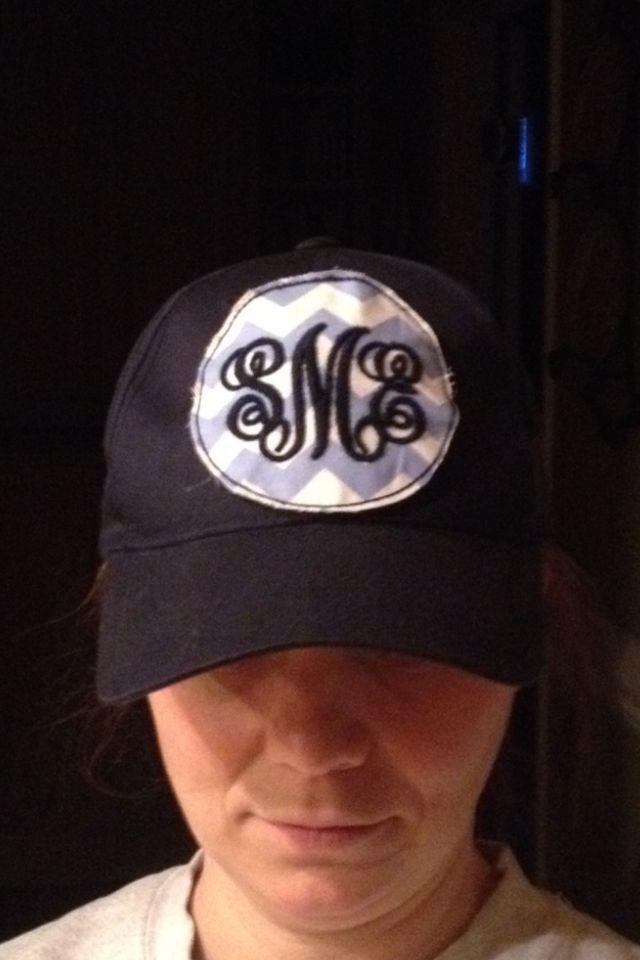 Preppy ragged monogram ball cap!