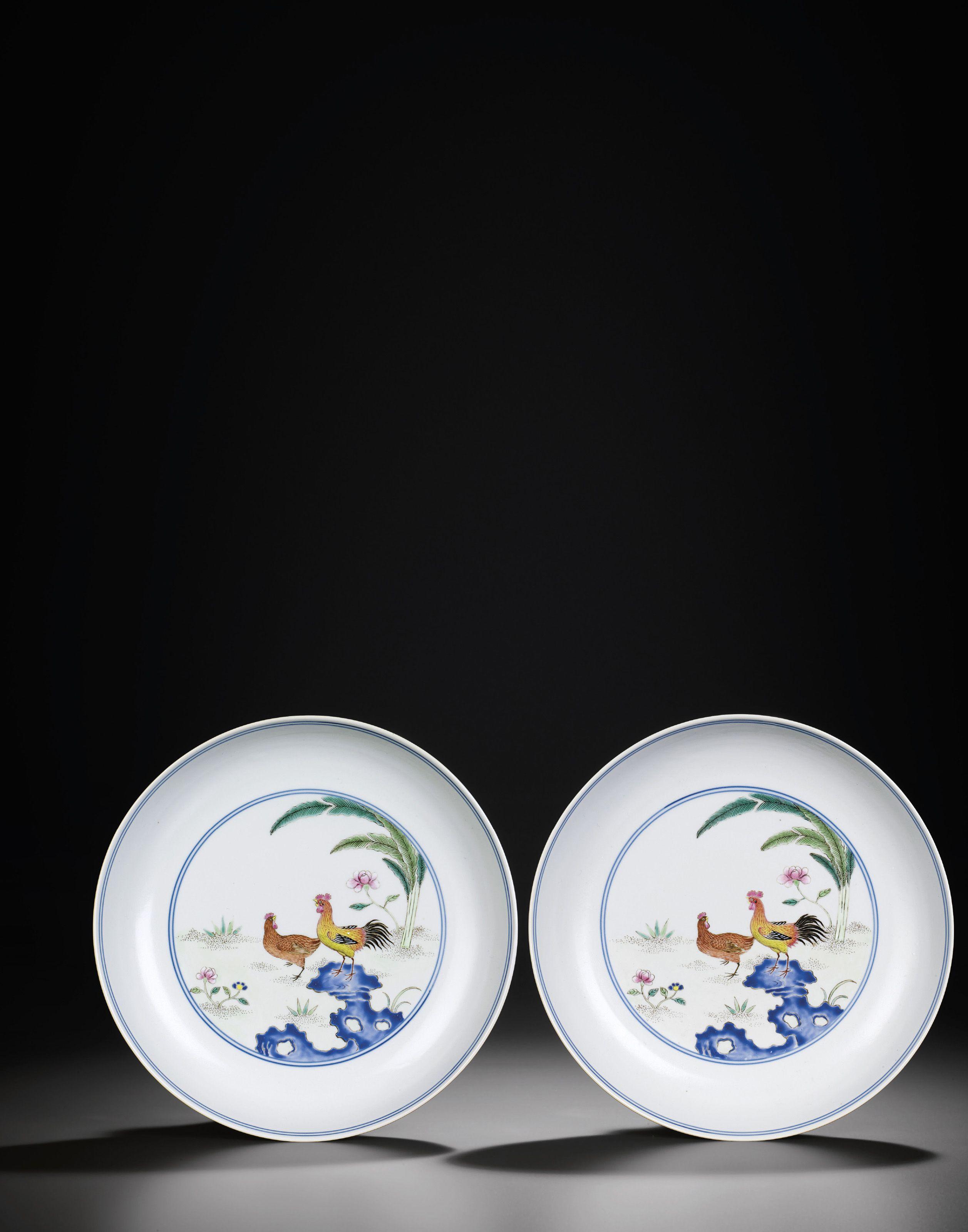 A Rare Pair Of Famille Rose Chicken Dishes Qianlong Jiaqing Period 1736 1820 Caihuatang Zhi Four Character Hall In 2020 Famille Chicken Dishes Chinese Ceramics