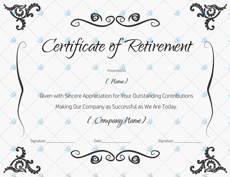 Certificate of Retirement For Employee in 2020
