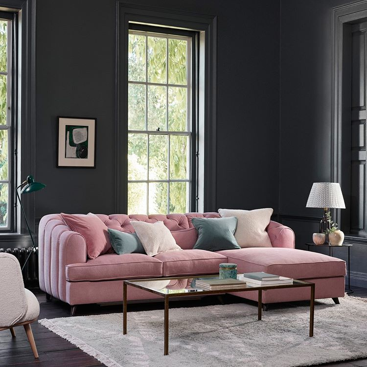 The Earl Grey Chaise Sofa Bed Upholstered In Studio Soft Linen Cotton Vintage Pink In 2020 Living Room Grey Living Furniture Luxury Furniture