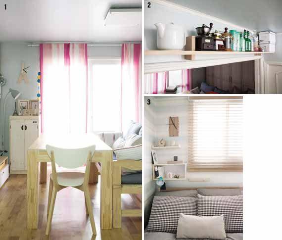 Idea 1 멀티플레이스로 공간을 절약하라 20년 된 복도식 17평 주공아파트는 보통 큰 방을 침실 겸 생활공간으로 활용하는 경우가 많다. 그러나 부부는 지인을 초대하기 좋아하고 집에서 일을 하는 라이프스타일에 맞게 큰 방 한 가운데에 커다란 6인용 원목 테이블을 놓았다. 그리고 한쪽 벽면에 TV를 수납하는 책장을 배치해 다이닝룸 겸 홈오피스로 활용할 수 있는 멀티플레이스로 꾸몄다. 가구는 모두 심리적인 안정감을 주는 나무 소재를 택하고 시선을 길게 유도하는 컬러풀한 스트라이프 패턴의 커튼으로 생동감 있게 연출했다.고정관념을 깨는 가구배치