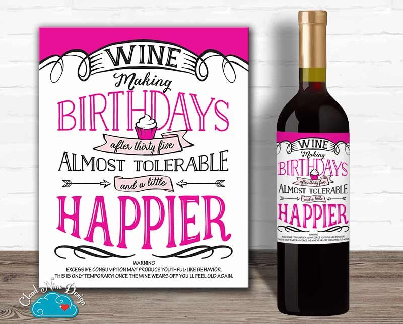 Birthday Wine Label Funny Wine Label 40th Birthday 35th Birthday 50th Birthday Birthday Gift For Her Birthday Wine Label Funny Wine Labels Birthday Wine
