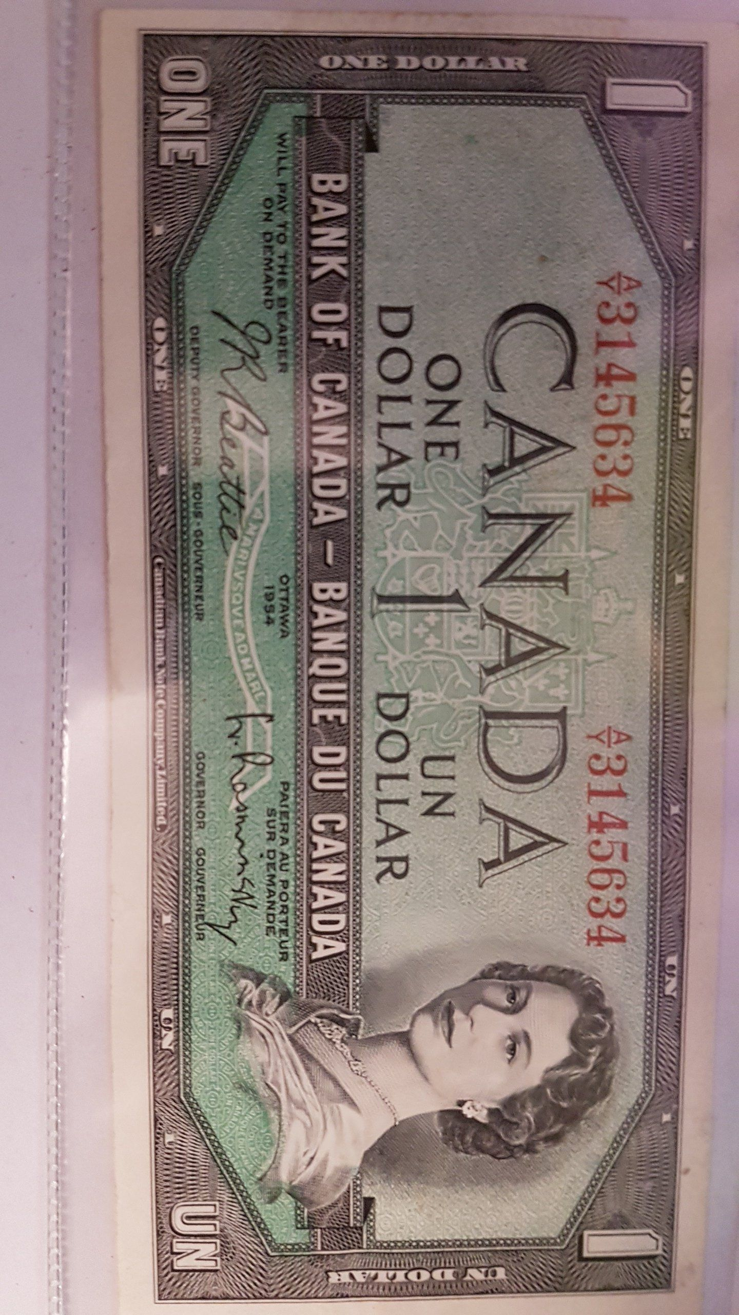 Rcm 1 Dollar 1954 Canadian Bank Note A Y 3145634 Bank Notes Dollar Notes