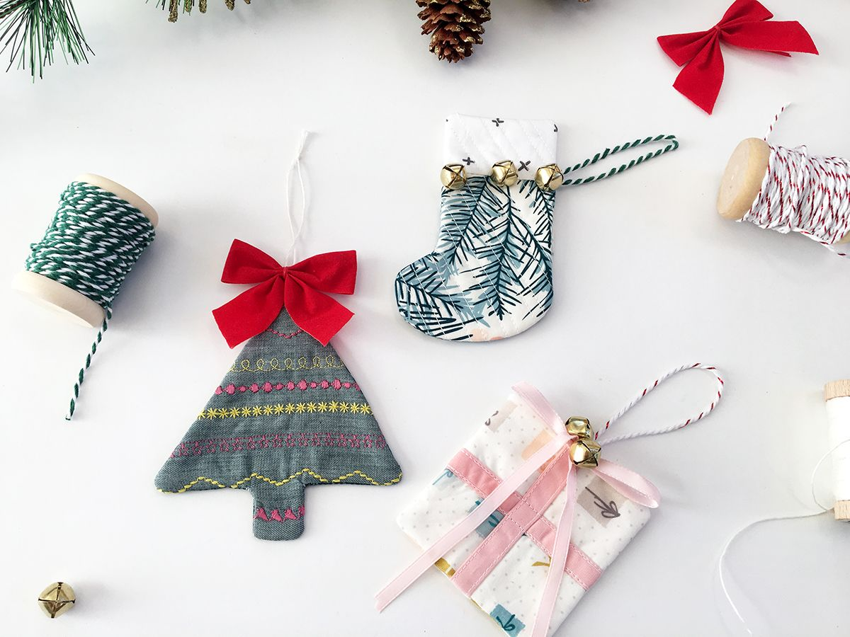 all you need to make a set of these quilty holiday ornaments are a few scraps - Christmas Decorations To Make With Sewing Machine