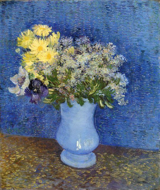 Bouquet Of Flowers In A Blue Vase Vincent Van Gogh 1887 Van