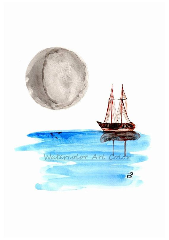 Watercolor Art Print Boat Under The Moonlight Giclee Wall Minimalism Living Room Illustration Decor Easter Gift Idea This Is
