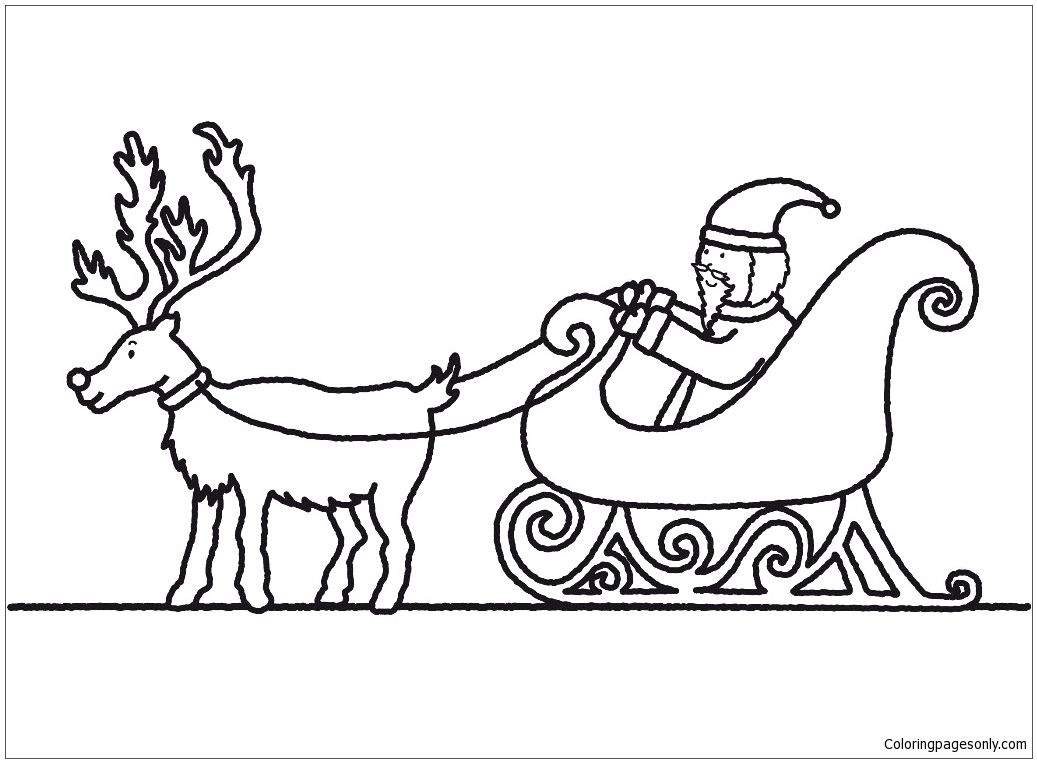 Santa Claus And Sleigh Coloring Page Santa Coloring Pages
