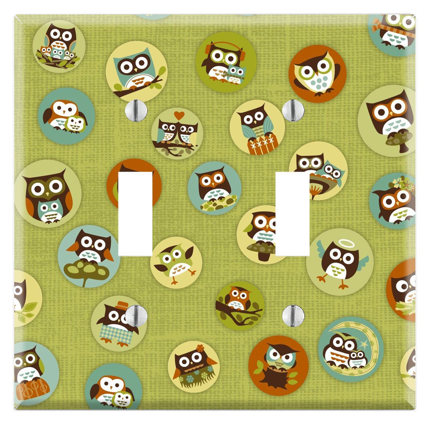 Green Owl Pattern Decorative Wall Plate Cover (Duplex Outlet), Multi ...