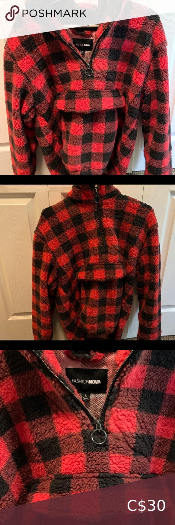 Fashion nova flannel style 1/4 sherpa