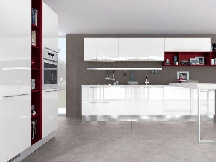 raffinierte Küche in Hochglanz-Weiß mit roten Akzenten, NOEMI - küchenzeile hochglanz weiß