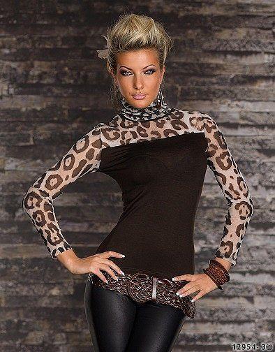 Damen Rollkragen Top Leo-Print Transprent Talliert Shirt Bluse Pulli 34/36 Braun
