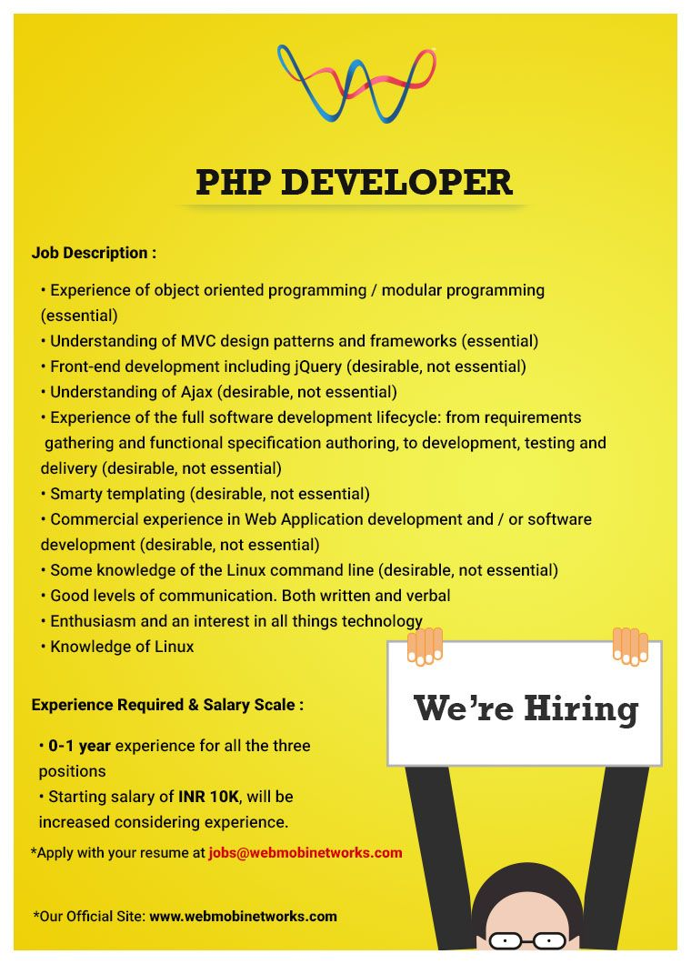 webmobi hiring php developers apply with your resume at jobs