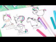 5 einhörner malen | schnell und easy || foxy draws - youtube | dibujos, arte y kawaii