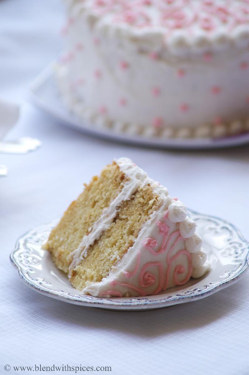 Eggless Vanilla Cake with Vanilla Buttercream Frosting - Eggless ...