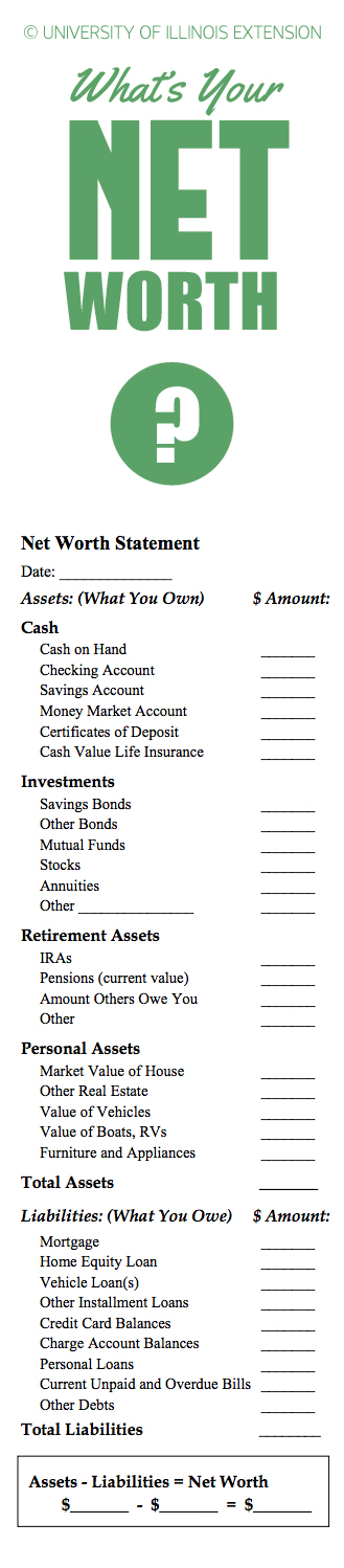 Use this form to help calculate your net worth Finances / Work