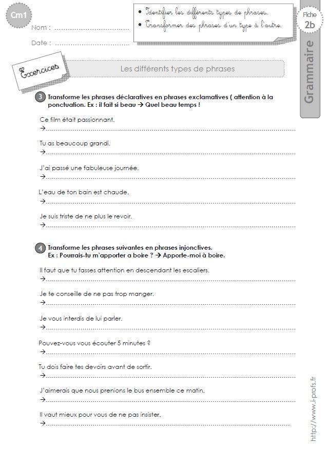cm1: Exercices Les types de phrases   Types de phrases, Phrase, Cm1