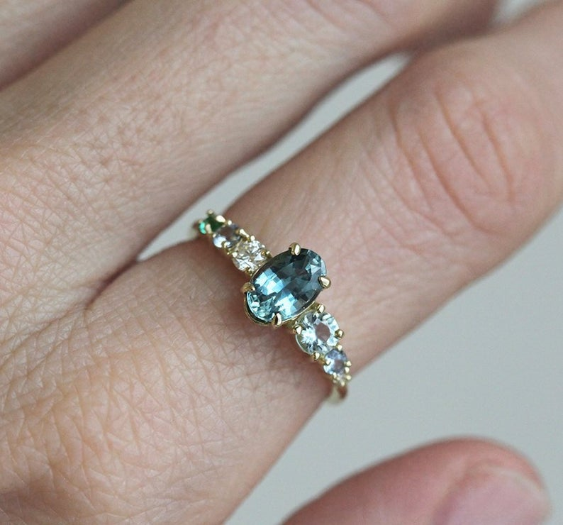 Teal Blue Sapphire Cluster Ring in 14k or 18k Solid Gold