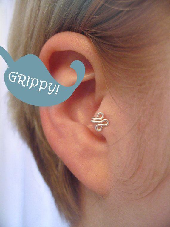 The Fleur Right Ear Tragus Cuff Grippy Silver Ear Cuff Wire Fleur De