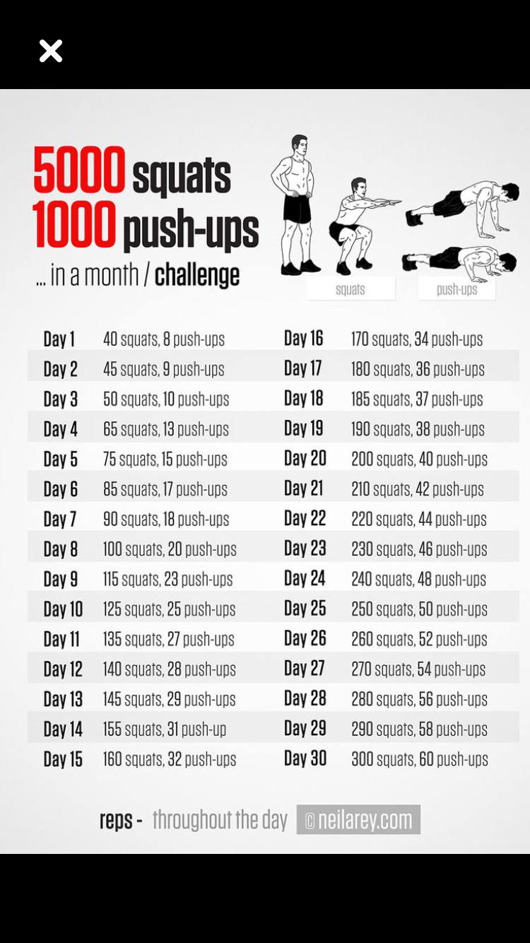 Challenge: 5000 squats and 1000 push-ups in a month