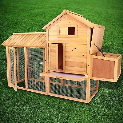 83 wooden chicken coop hen house pet animal poultry cage rabbit hutch w run