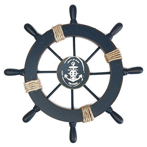 rosenice steuerrad mit anker holz wanddeko maritime deko badezimmer pinterest maritime. Black Bedroom Furniture Sets. Home Design Ideas