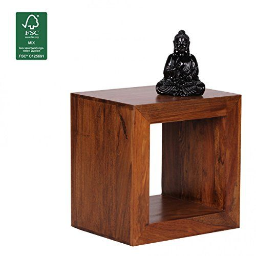FineBuy Standregal Massivholz Sheesham 44cm hoch Cube Regal Design - wohnzimmer design braun