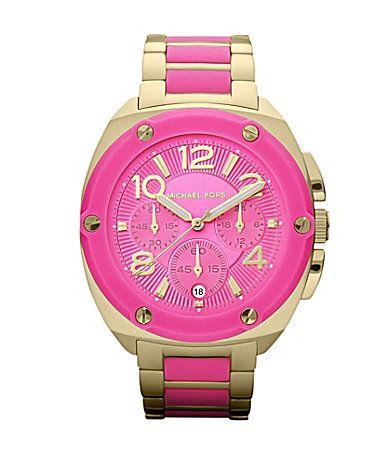 Michael Kors Tribeca Hot Pink Chronograph Watch Dillards