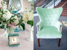 The NotWedding Athens Southern Vintage Mint Chair And Accent Pieces  (clocks, Vases, Door Knob Table Holders)