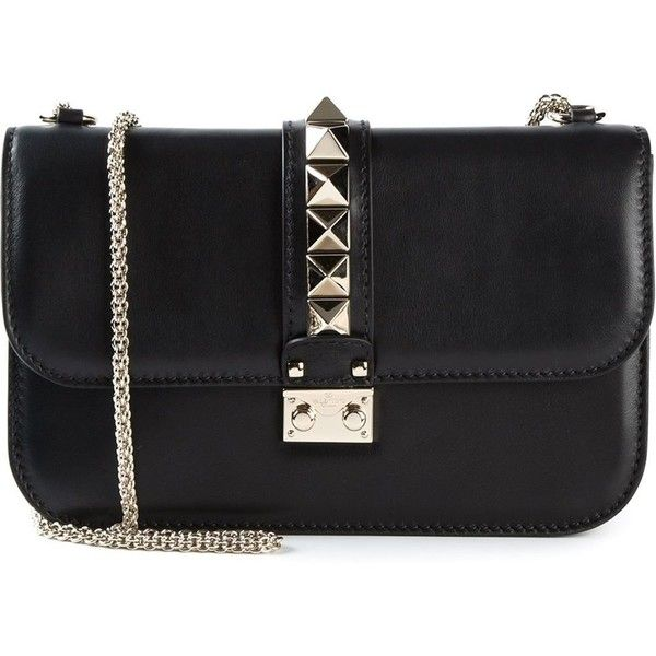 Valentino Garavani Glam Lock Shoulder Bag (2,290 CAD) ❤ liked on Polyvore featuring bags, handbags, shoulder bags, black, black leather purse, chain shoulder bag, leather shoulder handbags, valentino purses and leather purse