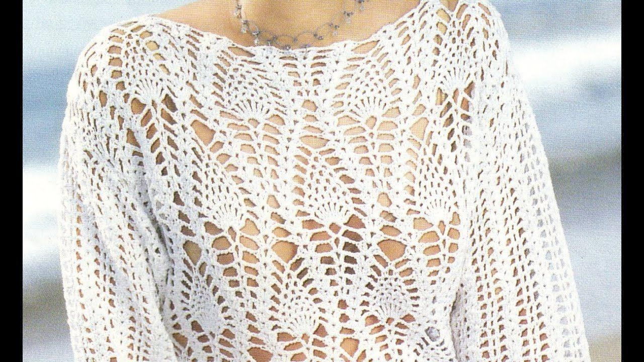 Suéter Calado puntada piñas a crochet | balsas a crochet | Pinterest ...