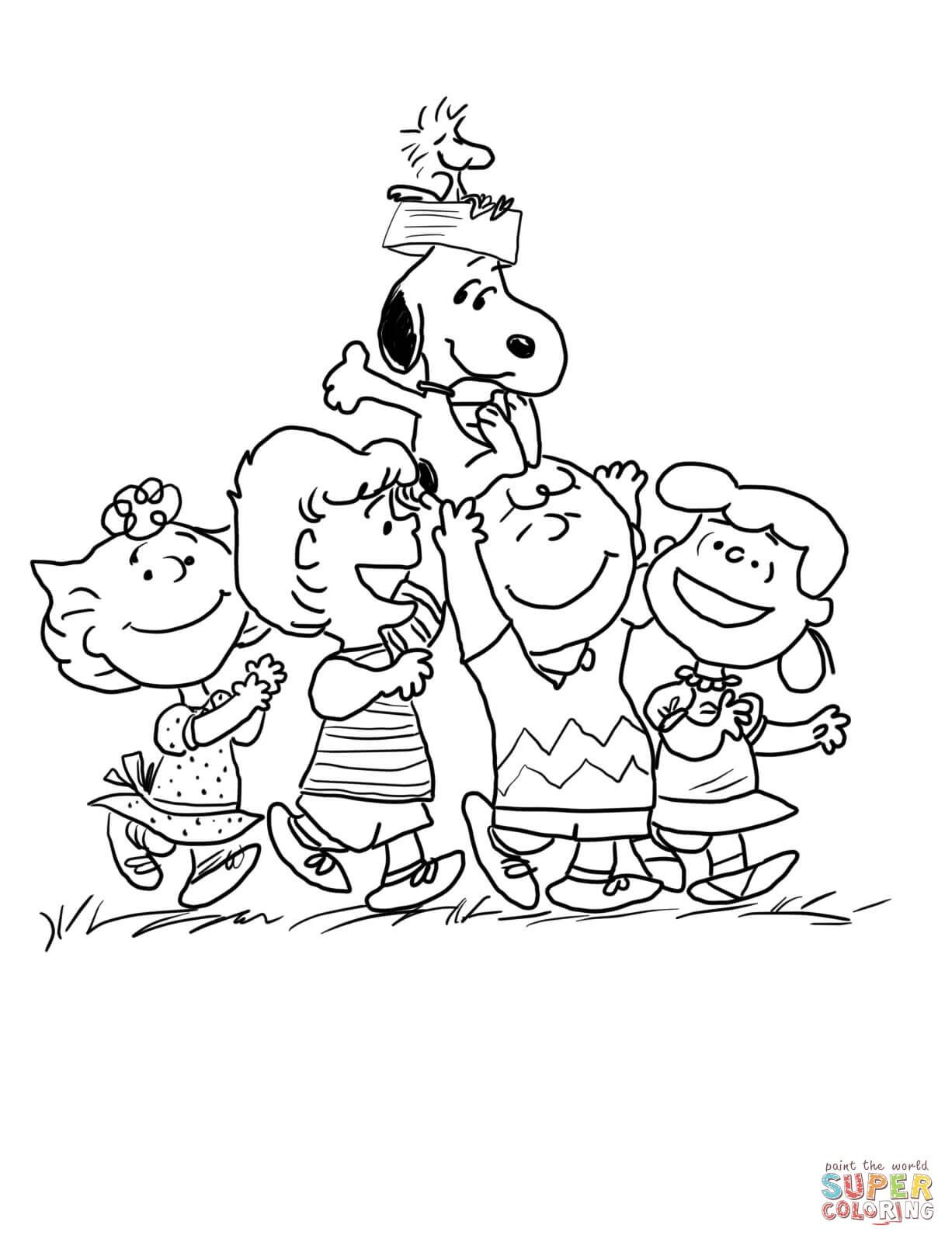 Peanuts characters coloring pages peanuts gang coloring page free