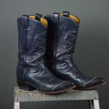 8826c74d7f2 Vintage Tony Lama Leather Cowboy Western Boots Navy Blue Womens ...