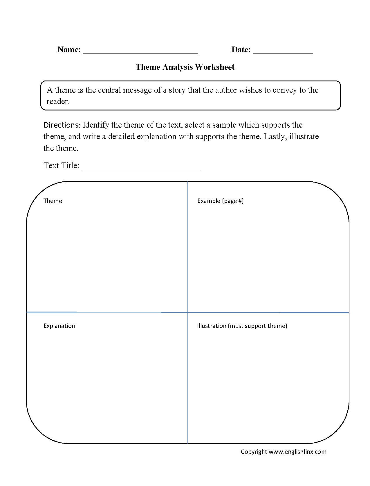 Theme Analysis Worksheet Education Language Arts – Theme Worksheets Middle School