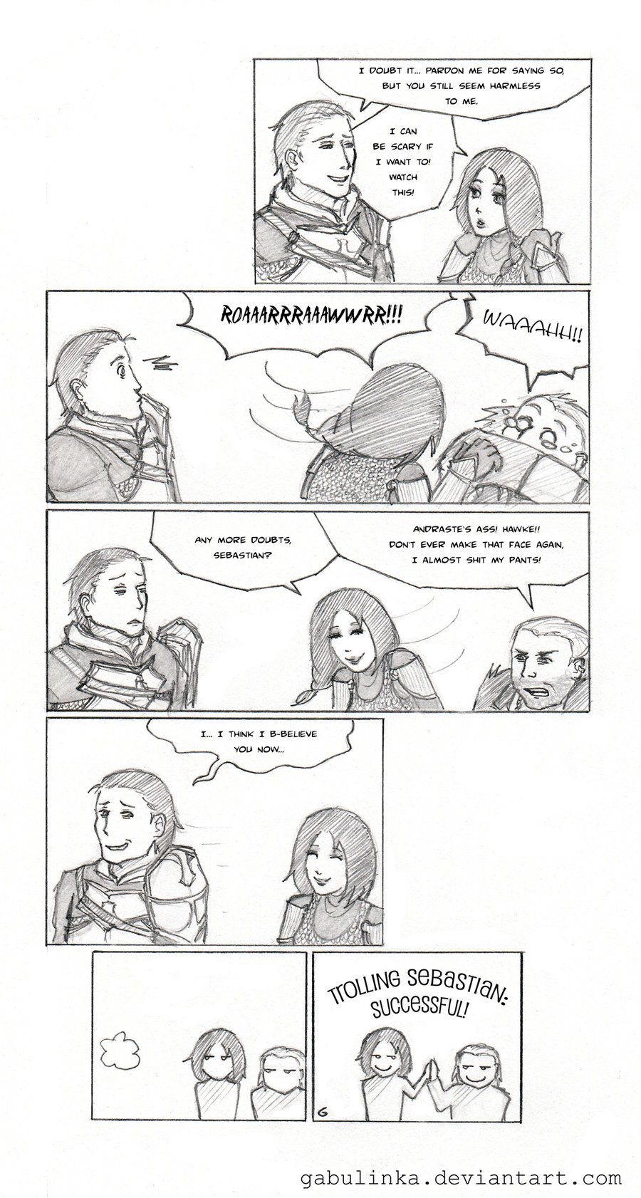 DA2: Not Scary At All by gabulinka.deviantart.com on @deviantART BFFs Varric and Hawke at it again
