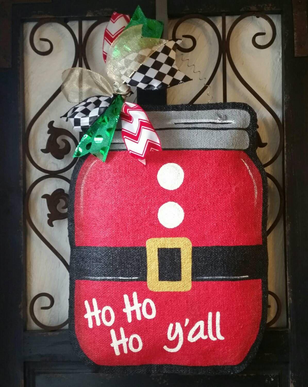 Santa suit theme mason jar burlap door hanger. Hand painted Christmas door decor by & Santa suit theme mason jar burlap door hanger. Hand painted ... pezcame.com