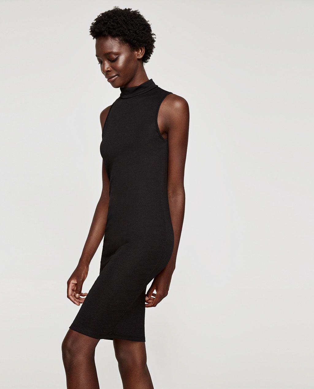 STRETCHKLEID MIT SCHORNSTEINKRAGEN   Zara mode, Kleider für frauen ...