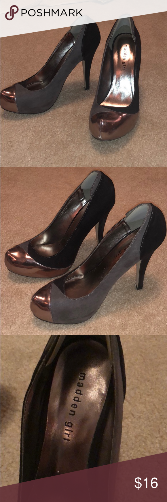 Madden girl black and silver pumps