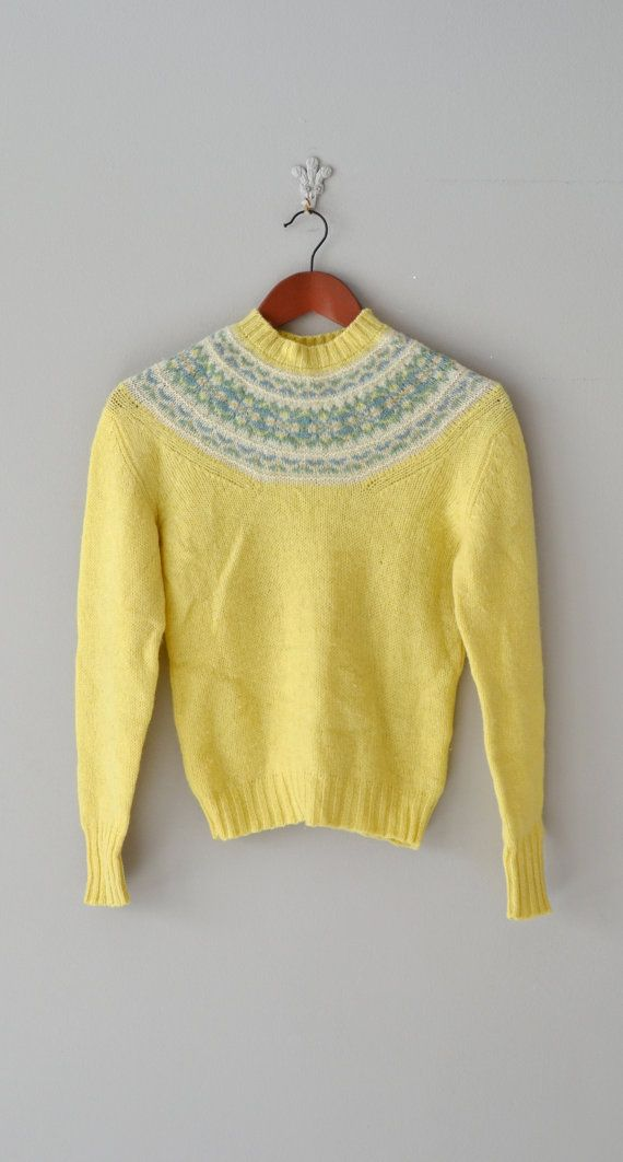 Vintage 1980s yellow wool sweater with light green fair isle style ...
