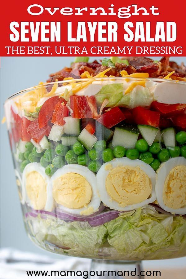 7 Layer Salad Overnight Layered Salad With Creamy Tangy Dressing Recipe Layered Salad Recipes Layered Salad Seven Layer Salad