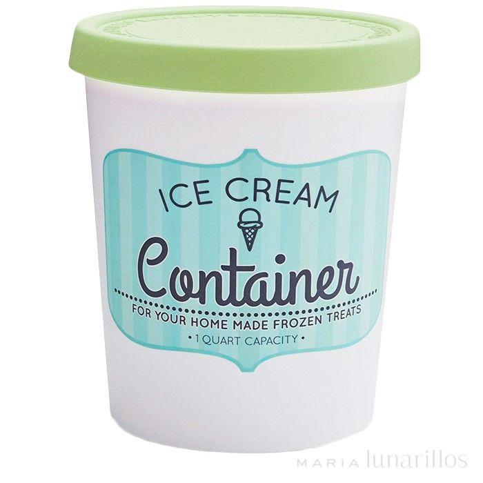 Contenedor para helado redondo 1 litro Verde