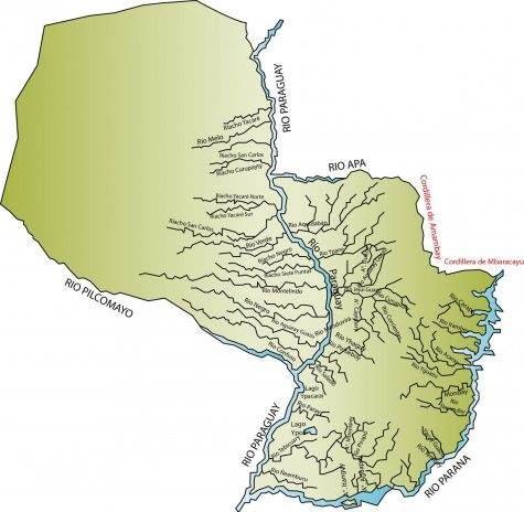 Hidrografía de Paraguay; cruzada de Norte  a sur por el río homónimo. En la parte interior el Paraná con los dos grandes lagos: Yaciretá e Itaipú. Ampliar datos en google: Indice del blog El Mundo de Pepe Hermano