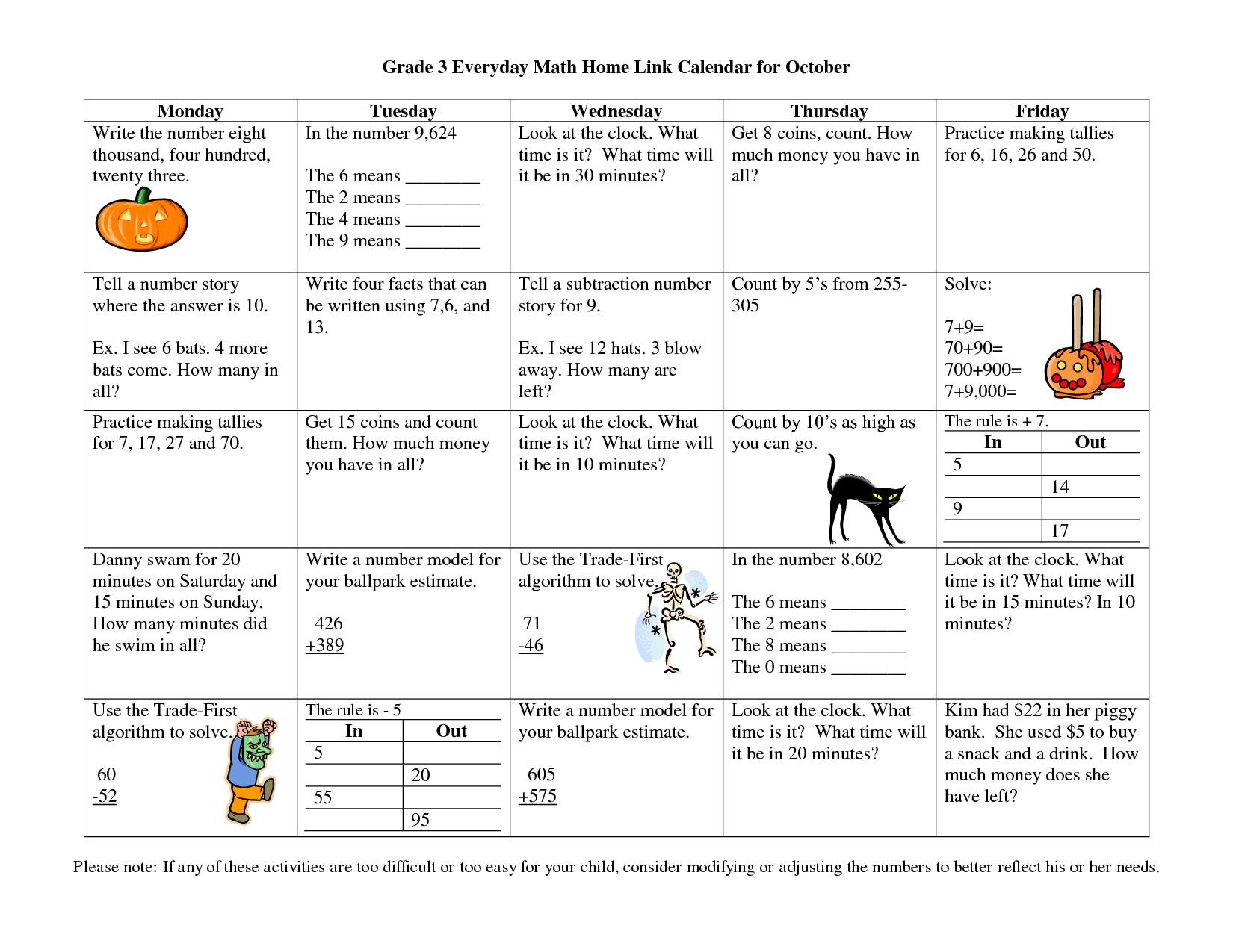 Grade 3 Everyday Math Home Link Calendar For October Everyday Math Calendar Math Third Grade Math