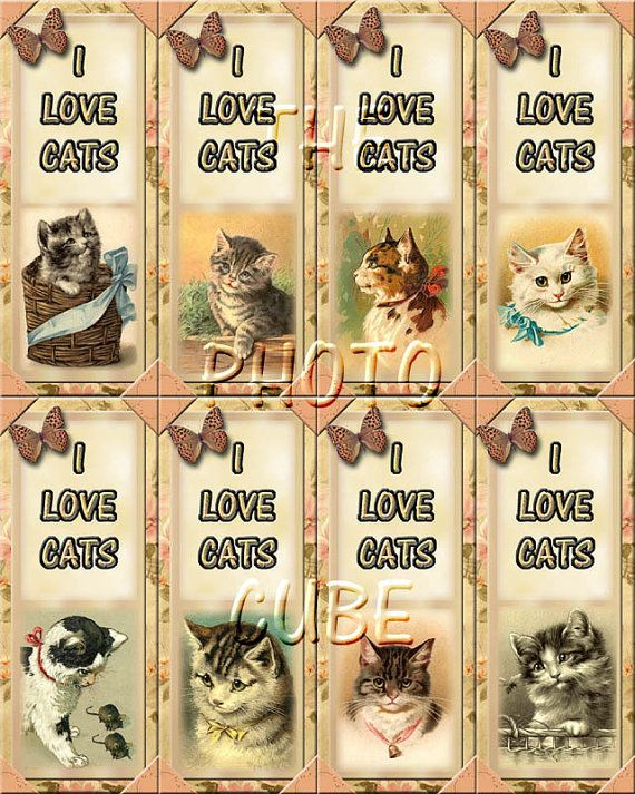 Set Of 8 I Love Cats ViNtAgE ArT Bookmarks  by thephotocube, $2.50