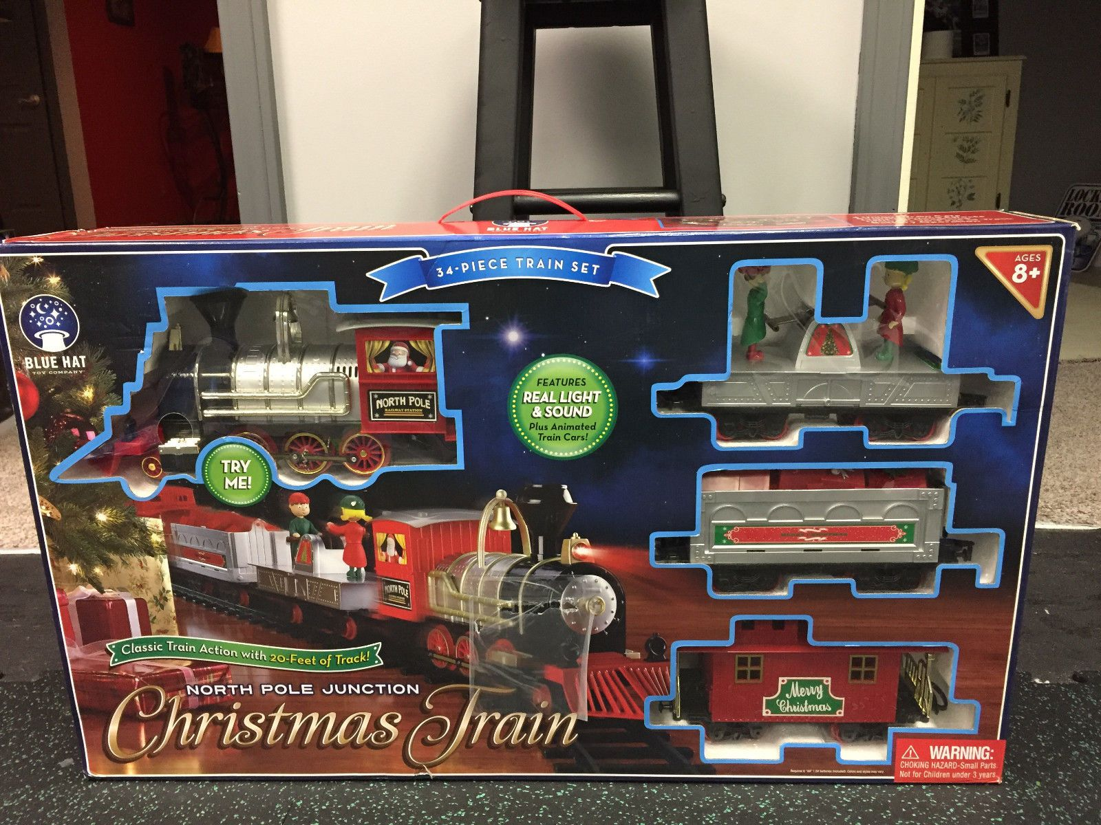 other rare scale 180313 blue hat north pole junction 35 piece christmas train set complete - North Pole Junction Christmas Train