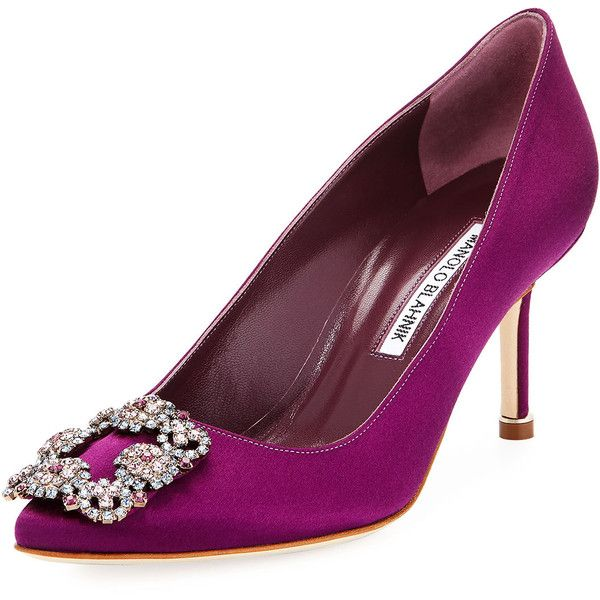 Manolo Blahnik Hangisi 70mm Satin Embellished Pump ($789) ❤ liked on Polyvore featuring shoes, pumps, bright purple, satin pumps, manolo blahnik shoes, pointed toe pumps, purple shoes and slip on shoes