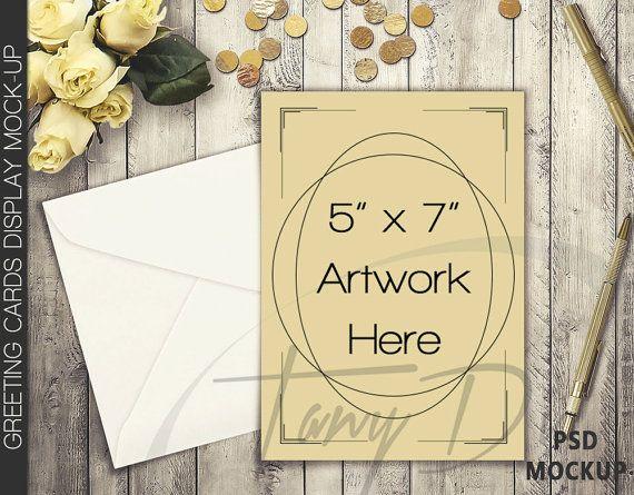 5x7 Portrait & Landscape Greeting Cards on Wooden Table Mockup ...