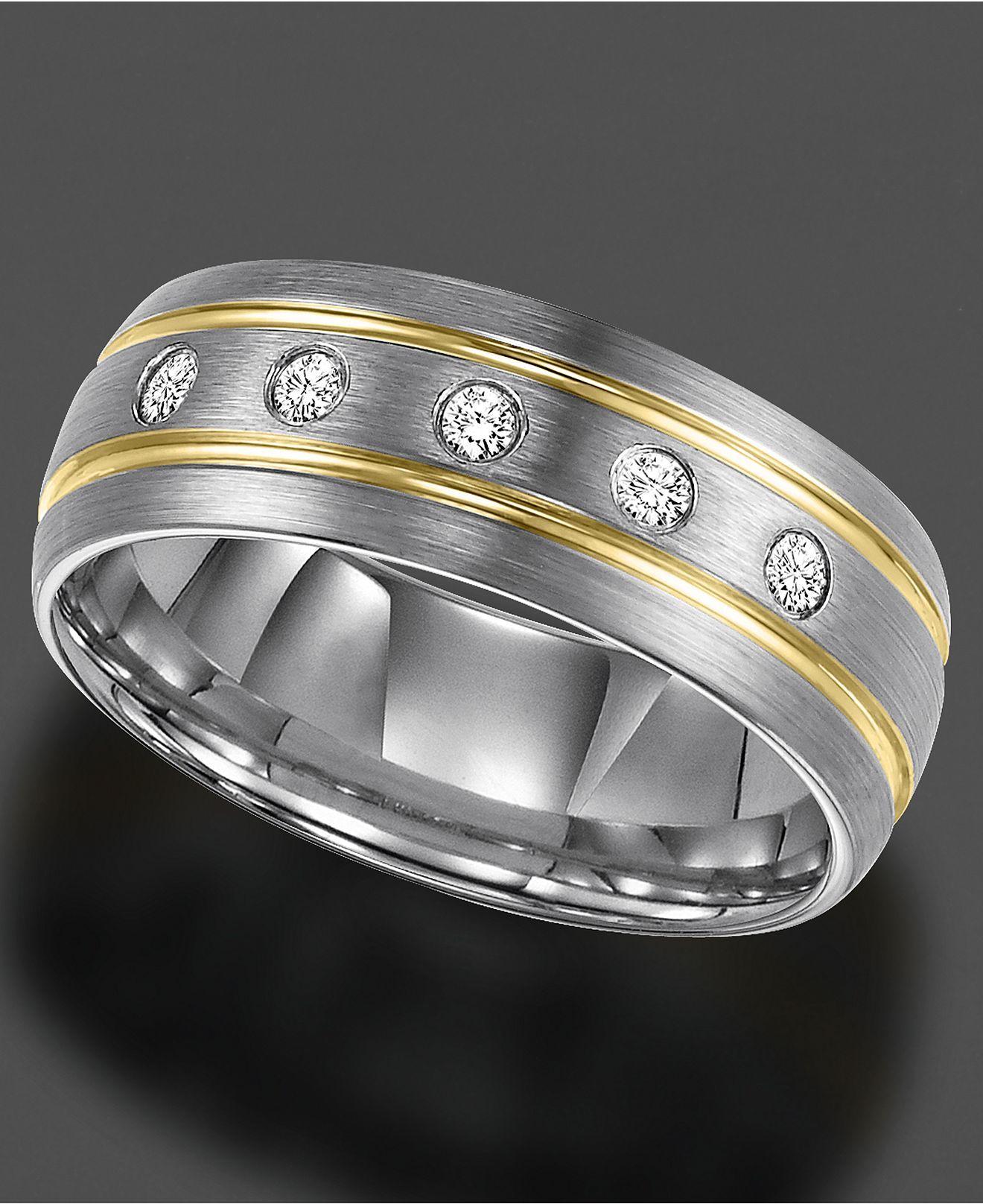 67f88c9f1e4ad9 Triton Men's Diamond Ring, Tungsten Carbide Diamond Stripe Band (1/6 ct.  t.w.) - Rings - Jewelry & Watches - Macy's